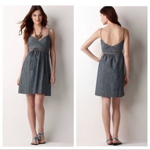 LOFT   XS Chambray Wrap Dress w/pockets